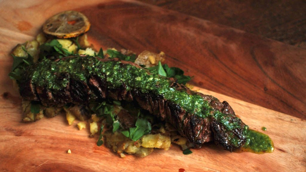 Argentinean Grilled Hanger Steak with Chimichurri Sauce
