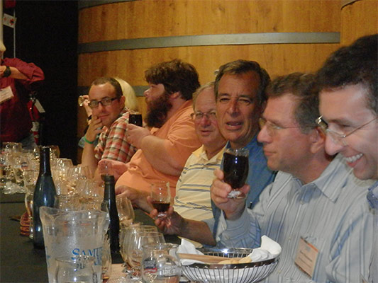 Boston Brewing Co. President Jim Koch holding forth at the tasting table