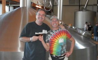 Ale Street News Publishers Jack Babin and Tony Forder in the New Belgium Brewhouse