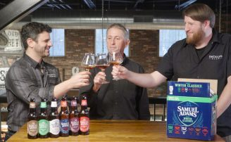 Tony Forder, Chris DeCicco, and Brendan o'Brien Sampling the Samuel Adams Winter Classics Variety Pack.