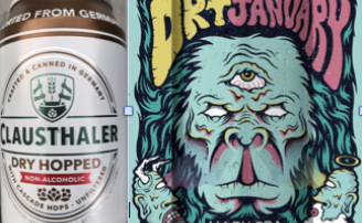 Clausethaler and Dry January label art
